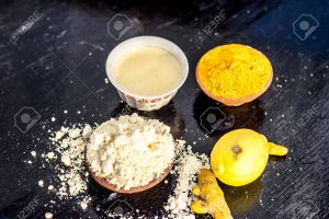 Use Gram Flour, Chandan, and Turmeric Powder for full skin whitening